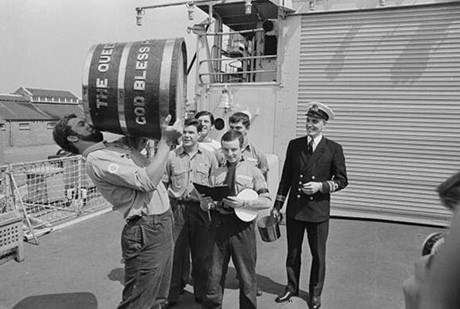 Sailors enjoying the last drop of rum on Black Tot Day